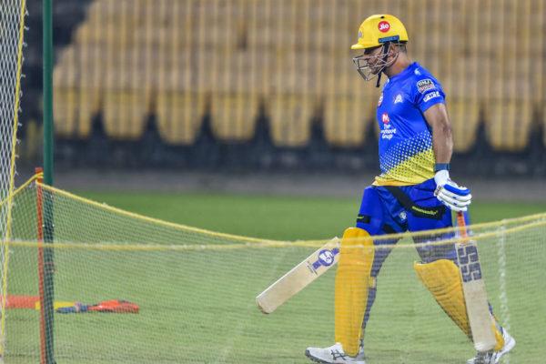 MS Dhoni hits net IPL 2020