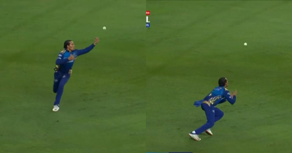 Rahul Chahar juggling catch
