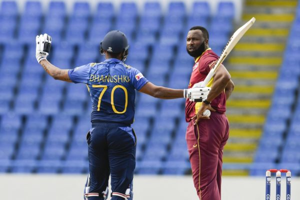 Sri Lankan cricketers Danushka Gunathilaka obstructing the field