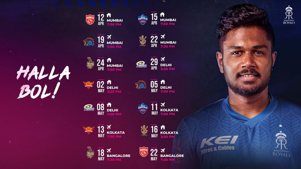 Full Schedule of Rajasthan Royals