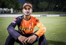 Virat Singh representing Sunrisers Hyderabad in IPL 2021