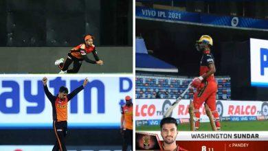 Manish Pandey Washington Sundar Catch