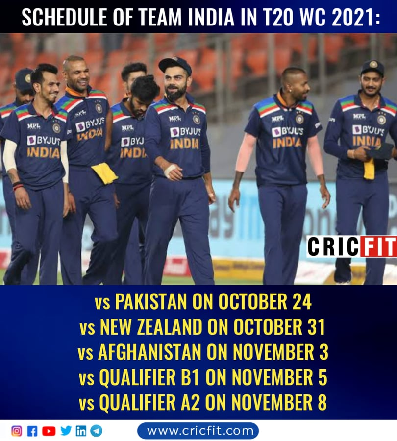 India schedule T20 World Cup 2021